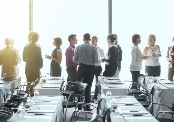Large group of people at a networking event